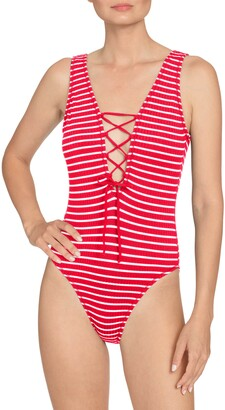 Robin Piccone Sailor Lace-Up Plunge One-Piece Swimsuit