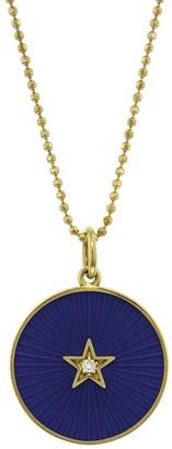 Andrea Fohrman Blue Enamel Diamond Full Moon Yellow Gold Necklace