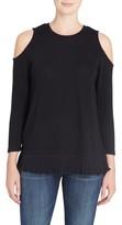 Catherine Malandrino Women's Linda Mixed Media Cold Shoulder Sweater