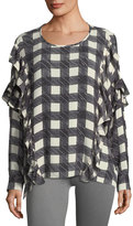 AG Adriano Goldschmied Bijou Round-Neck Check-Print Blouse w/ Ruffled Trim