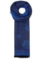 Kenzo Blue Tiger-jacquard Modal Blend Scarf