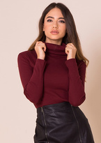 Missy Empire Fifi Wine Ribbed Polo Neck Top