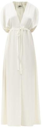 Maison Rabih Kayrouz Drawstring-waist Satin Maxi Dress - White