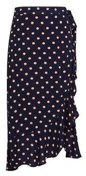 Dorothy Perkins Womens Navy Spot Print Wrap Midi Skirt, Navy