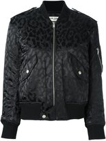 Saint Laurent leopard print bomber jacket - women - Cotton/Polyamide/Polypropylene/Wool - 38