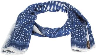 Roberto Cavalli Blue & White Abstract Print Silk Scarf