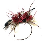 Caprilite Fashion and Burgundy Fascinator Headband Net Hoop Feather Hair Wedding Royal Ascot Races