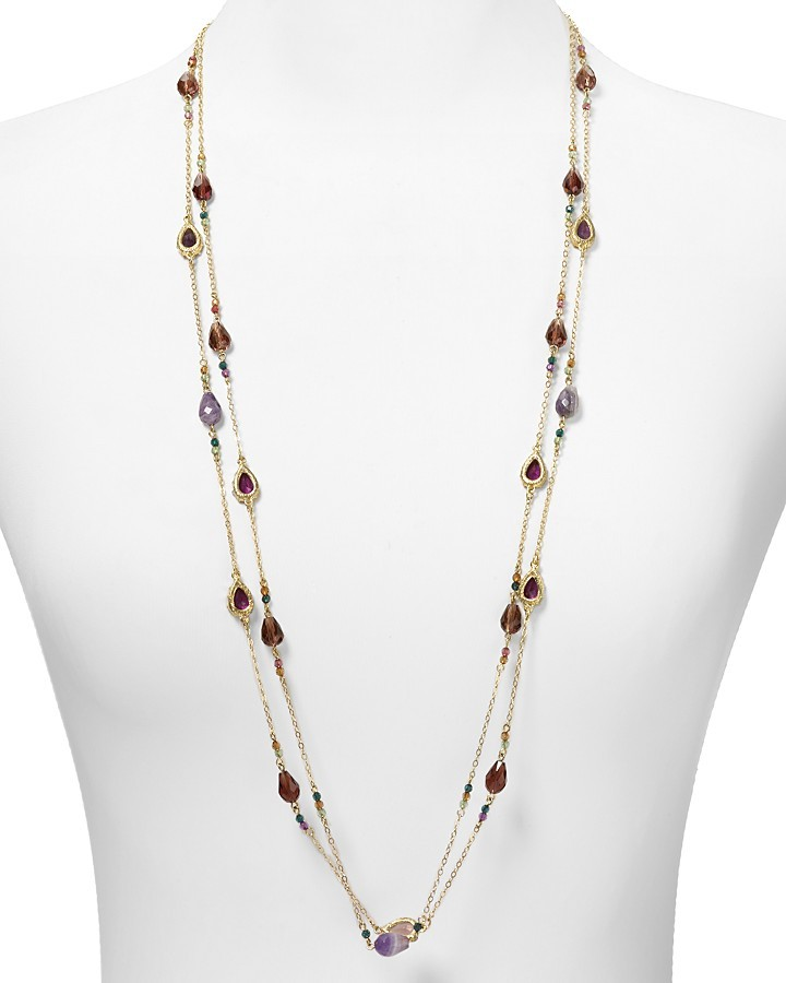 "Lauren Ralph Lauren Two Row Multi Beaded Illusion Necklace, 36"""