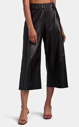 Sprwmn Women's Leather High-Waist Culottes - Black