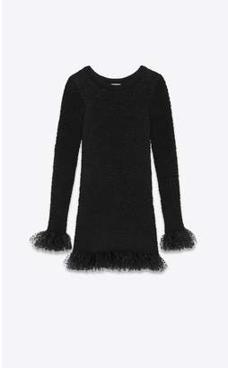 Saint Laurent Smocked Knit Dress In Silk With Frilled Tulle