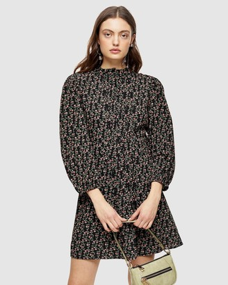 Topshop Pintuck Floral Mini Shirt Dress
