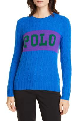 Polo Ralph Lauren Cable Logo Colorblock Wool & Cashmere Sweater