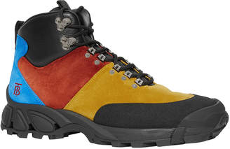 Burberry Men's Henfield Colorblock Suede/Leather Hiking Boots