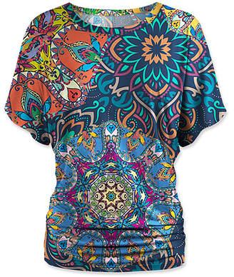 Udear UDEAR Women's Blouses Print - Blue Mandala Dolman Top - Women & Plus