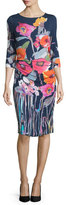 Kay Unger New York 3/4-Sleeve Floral-Print Sheath Dress, Multi Colors