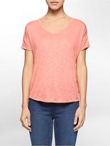 Calvin Klein Solid V-Neck Split Back Short Sleeve Top