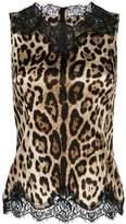 Dolce & Gabbana lace trim leopard print vest