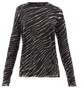Proenza Schouler Tiger-print Long-sleeved Cotton T-shirt - Womens - Black White