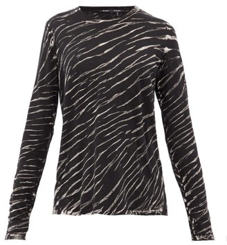 Proenza Schouler Tiger-print Long-sleeved Cotton T-shirt - Black White