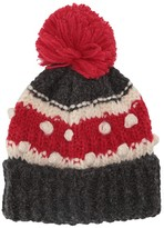 J.Crew Chunky Striped Bobble Hat (Charcoal/Red) Beanies