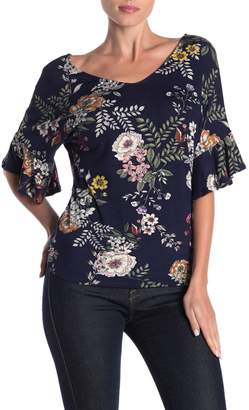 Loveappella Floral V-Neck Ruffle Sleeved Top