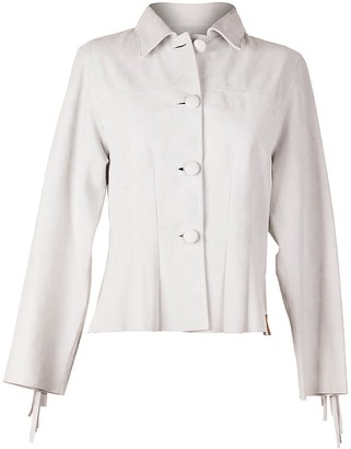 Zut London Hand Beaded & Fringed Suede Leather Fitted Jacket - White