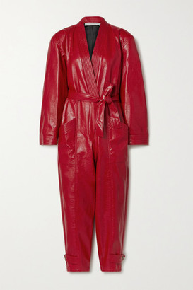 Philosophy di Lorenzo Serafini Belted Faux Textured-leather Jumpsuit - Claret