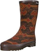 Muk Luks Women's Brown Tall Annabelle Zig Zag Rainboot Rain Boot