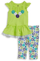 Kids Headquarters Girls 2-6x Little Girls Floral and Tulle Tunic and Leggings Set