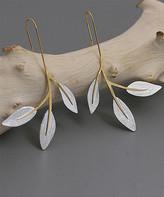 Lotus Fun Women's Earrings Silver - Sterling Silver Leaf Drop Earrings
