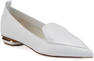 Nicholas Kirkwood Beya Flat White Leather Loafer