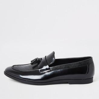 River Island Black patent textured tassel loafers