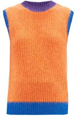 Valentino Logo-embroidered Ribbed Mohair-blend Tank Top - Orange Multi