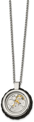 Chisel Stainless Steel Brushed and Polished Yellow IP-plated with Cubic Zirconia Leather 22-inch Necklace