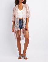 Charlotte Russe Lace Fringe-Hem Kimono