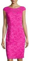 Shoshanna Cap-Sleeve Lace Sheath Dress, Deep Fuchsia