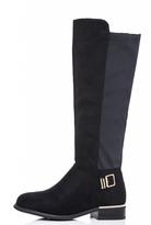 Quiz Black Faux Suede Panel Gold Trim Boots