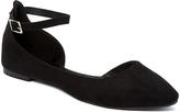 Charles Albert Black Suede Fury Ankle-Strap Flat