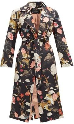 Etro Zante Floral-print Belted Silk Coat - Black Multi