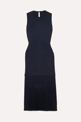 Dion Lee Pleated Bonded Stretch-crepe Midi Dress - Navy