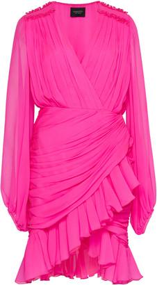 Giambattista Valli Ruched Neon Silk-Chiffon Mini Dress