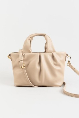 francesca's Juliet Ruched Mini Tote - Taupe