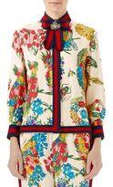Gucci Corsage Print Silk Shirt
