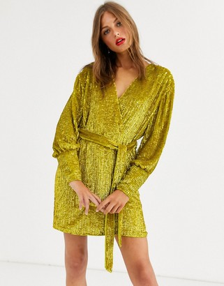 Asos Edition EDITION sequin wrap mini dress