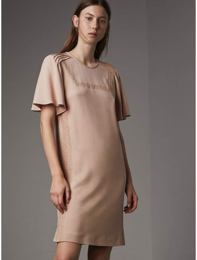 Burberry Flare-sleeve Lace Detail Crepe Dress