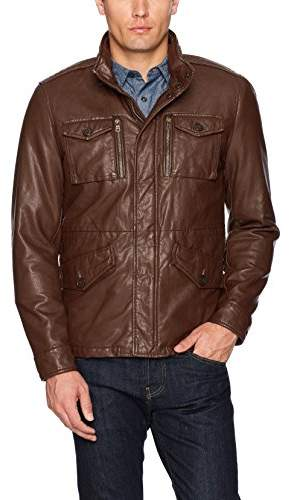 8e828ccd4 Men's Smooth Lamb Faux Leather Military Jacket