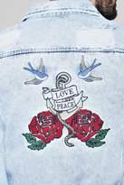 Embroidered Back Acid Wash Denim Jacket