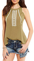 Miss Me High-Neck Embroidered Tank Top