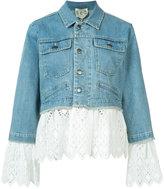 Sea eyelet layered denim jacket - women - Cotton - XS