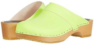 Swedish Hasbeens Swedish Husband (Neon Yellow) Women's Clog Shoes